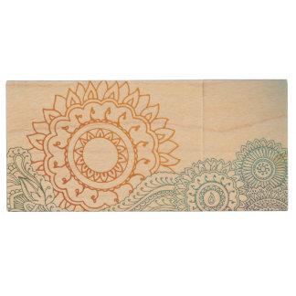 Detailed henna abstract sunrise wood USB 2.0 flash drive
