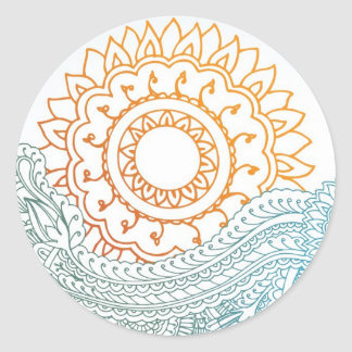 Detailed henna abstract sunrise round sticker