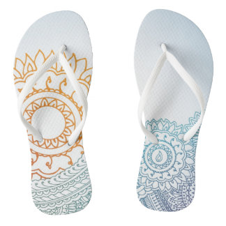 Detailed henna abstract sunrise thongs