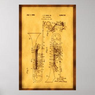 Detailed Hi res Trombone Patent art Poster