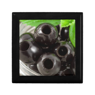 Detailed macro view of the black olives gift box