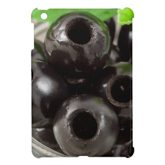 Detailed macro view of the black olives iPad mini cover