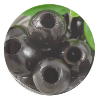 Detailed macro view of the black olives plate
