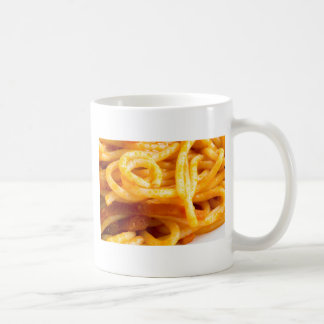 Detailed macro view on cooked spaghetti on a plate coffee mug