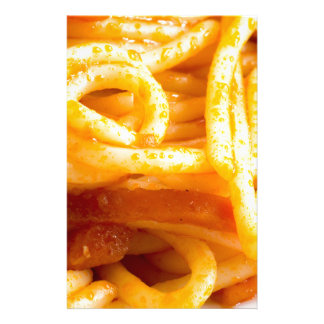 Detailed macro view on cooked spaghetti on a plate customised stationery