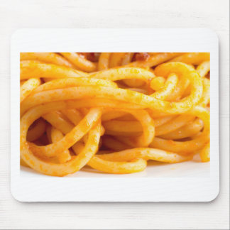 Detailed macro view on cooked spaghetti on a plate mouse pad