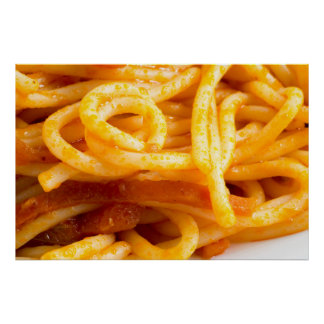 Detailed macro view on cooked spaghetti on a plate poster