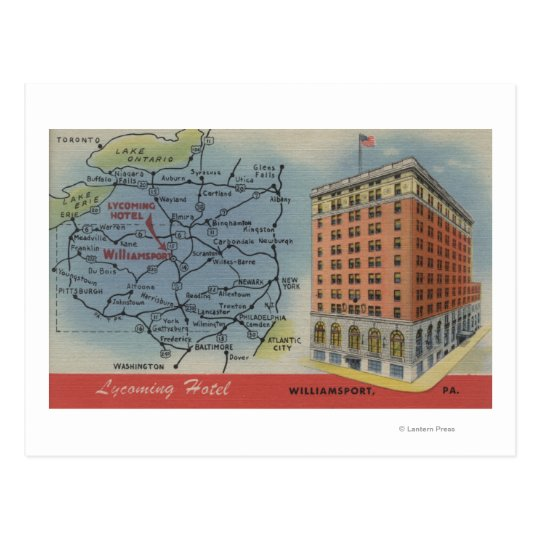 Detailed Map, Lycoming Hotel - Williamsport, PA Postcard
