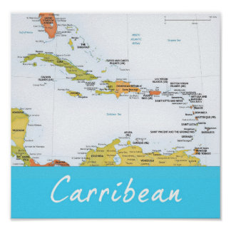 Detailed Map of the Carribean Poster