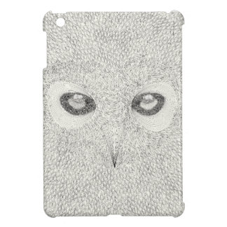 Detailed owl illustration in black and white iPad mini case