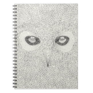 Detailed owl illustration in black and white notebooks