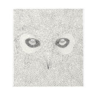 Detailed owl illustration in black and white notepad