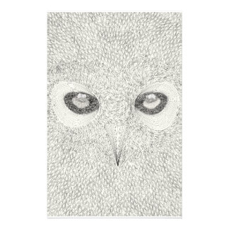 Detailed owl illustration in black and white stationery design
