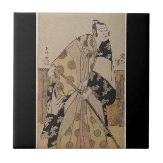 Detailed Portrait of a Samurai circa 1700s Ceramic Tile