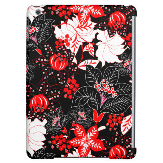 Detailed red tropical floral