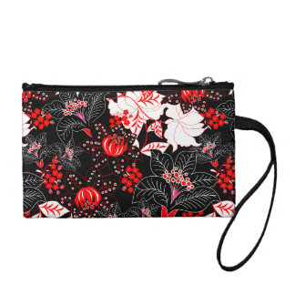 Detailed red tropical floral coin purse