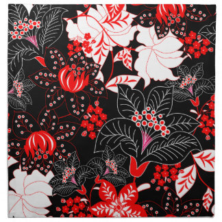 Detailed red tropical floral napkin