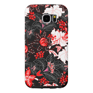 Detailed red tropical floral samsung galaxy s6 cases