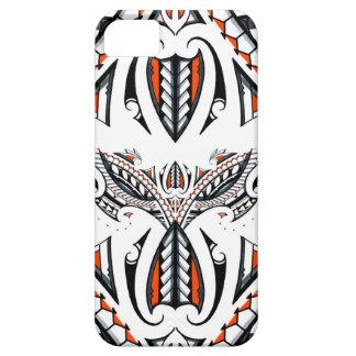 Detailed tribal maori polynesian orange pattern iPhone 5 cases