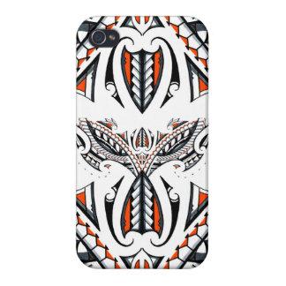 Detailed tribal maori polynesian orange pattern iPhone 4/4S covers