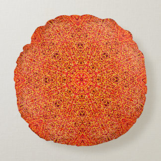 Detailed Warm Colors Mandala Round Cushion