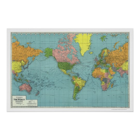 Detailed WWII World Map 1942 Poster