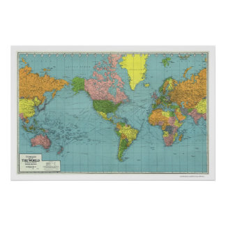 Detailed WWII World Map 1942 Posters