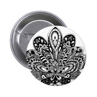 Detailed zendoodle Lotus 6 Cm Round Badge
