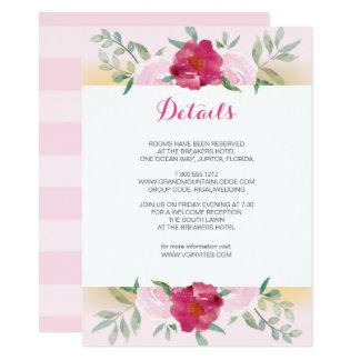 Details Card Pink Floral Wedding Invite Set