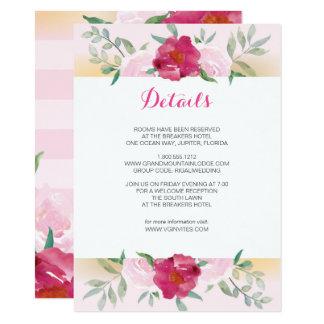 Details Card Pink Flowers & Stripes