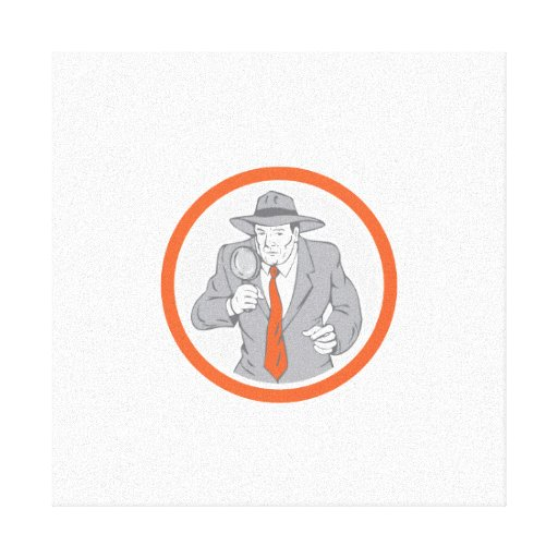 Detective Holding Magnifying Glass Circle Retro Canvas Prints
