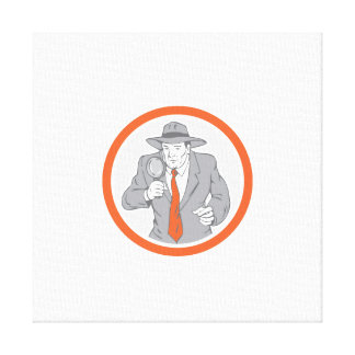 Detective Holding Magnifying Glass Circle Retro Canvas Print