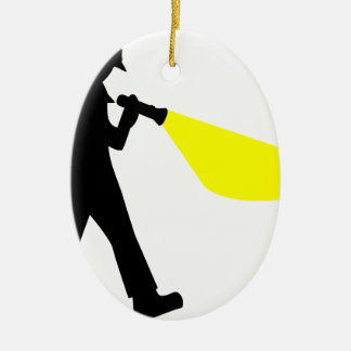 Detective with Flashlight Ceramic Ornament