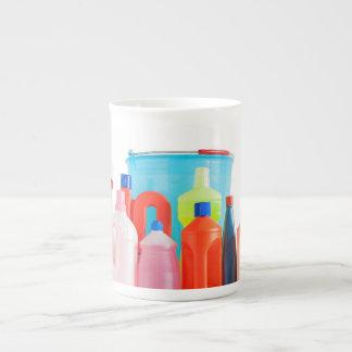 detergent bottles and bucket bone china mug