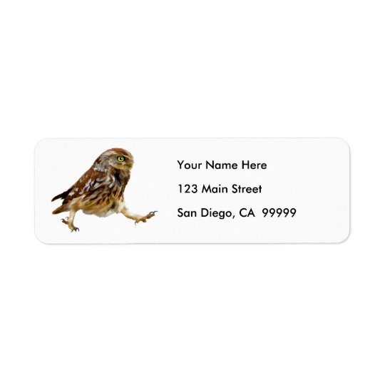 Determined Marching Owl Return Address Label