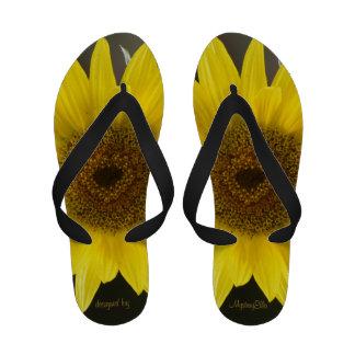 """determined sunflower"" by mysteryella Flip-Flops"