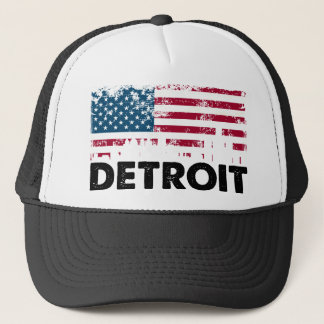 Detroit American Flag (2) Trucker Hat