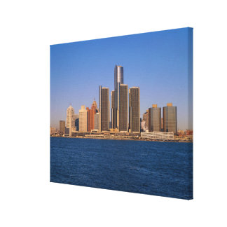 Detroit buildings on the water canvas print