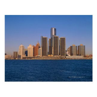 Detroit buildings on the water postcard