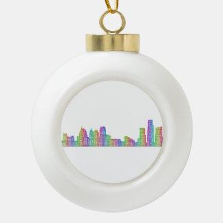 Detroit city skyline ceramic ball decoration