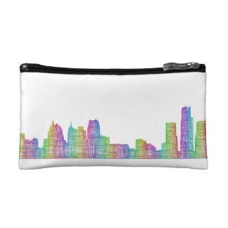 Detroit city skyline cosmetic bag