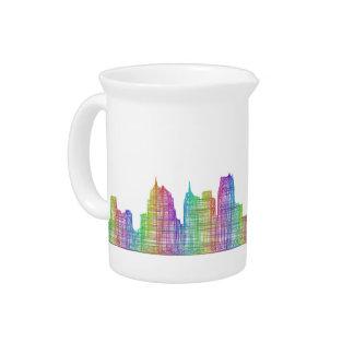 Detroit city skyline drink pitchers
