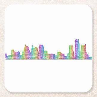 Detroit city skyline square paper coaster