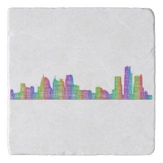 Detroit city skyline trivet