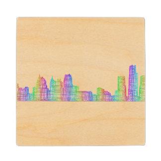 Detroit city skyline wood coaster