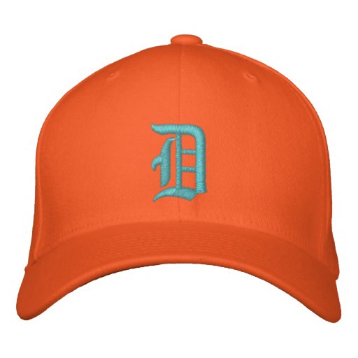 Detroit D Hat Embroidered turquoise and orange Embroidered Baseball Cap