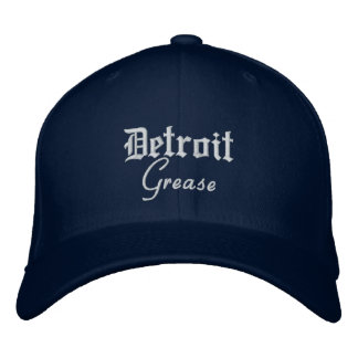 Detroit Grease Flex Fit Wool Cap Navy Embroidered Hat