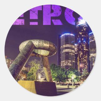 Detroit Hart Plaza Round Sticker