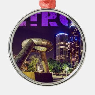 Detroit Hart Plaza Silver-Colored Round Decoration