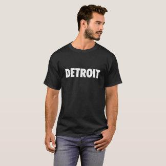 Detroit in white text on dark t-shirt